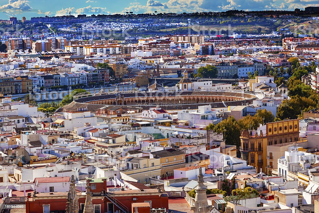 City View Bull Ring from Giralda Tower Seville Cathedral Spain royalty-free stock photo