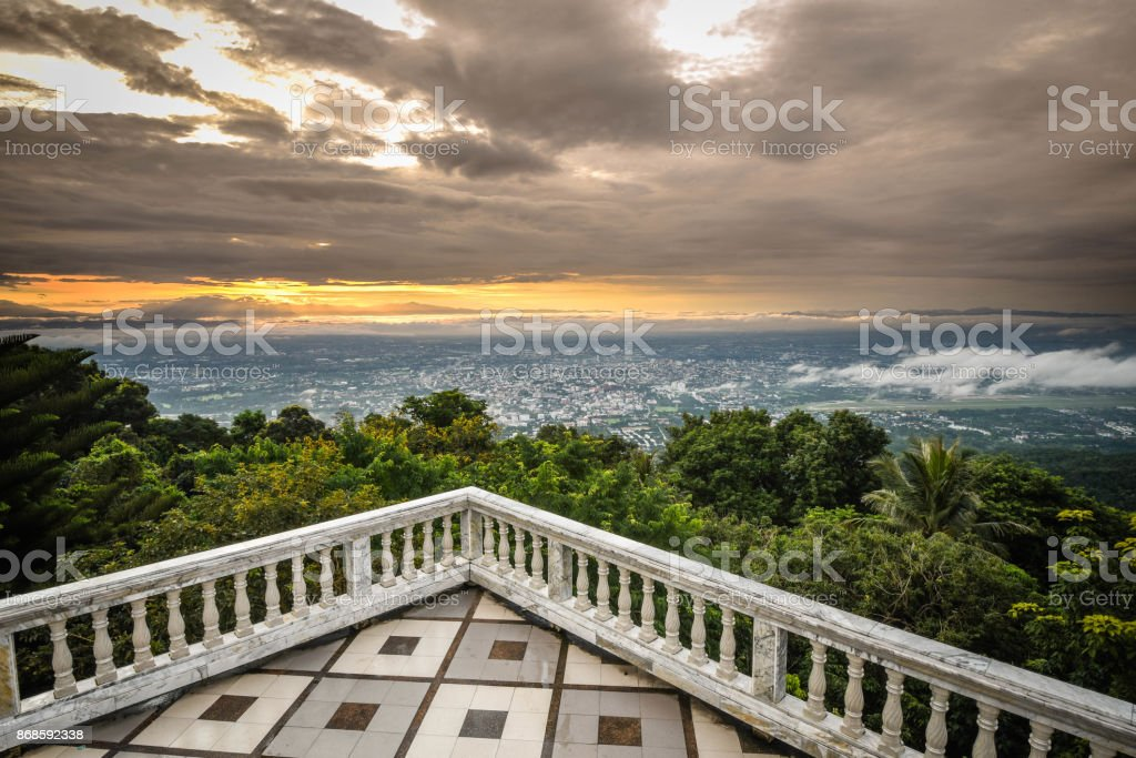 City View During Sunrise from Wat Doi Suthep in Chiang Mai, Thailand stock photo