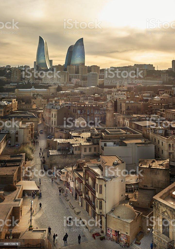 city View from maiden tower Baku, Azerbaijan stock photo