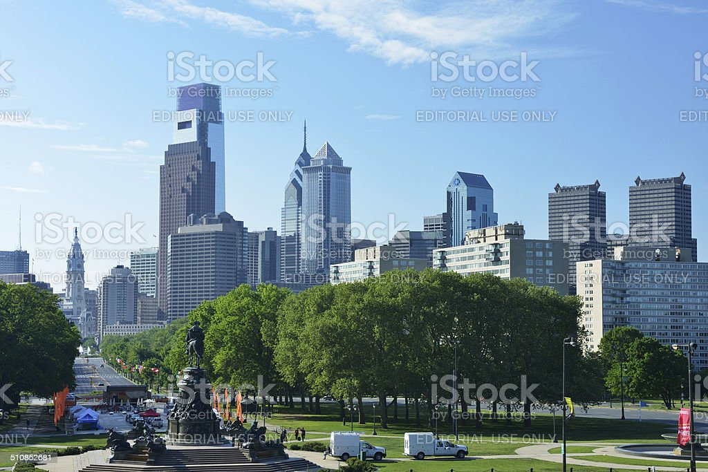 City View from Philadelphia Museum of Art stock photo