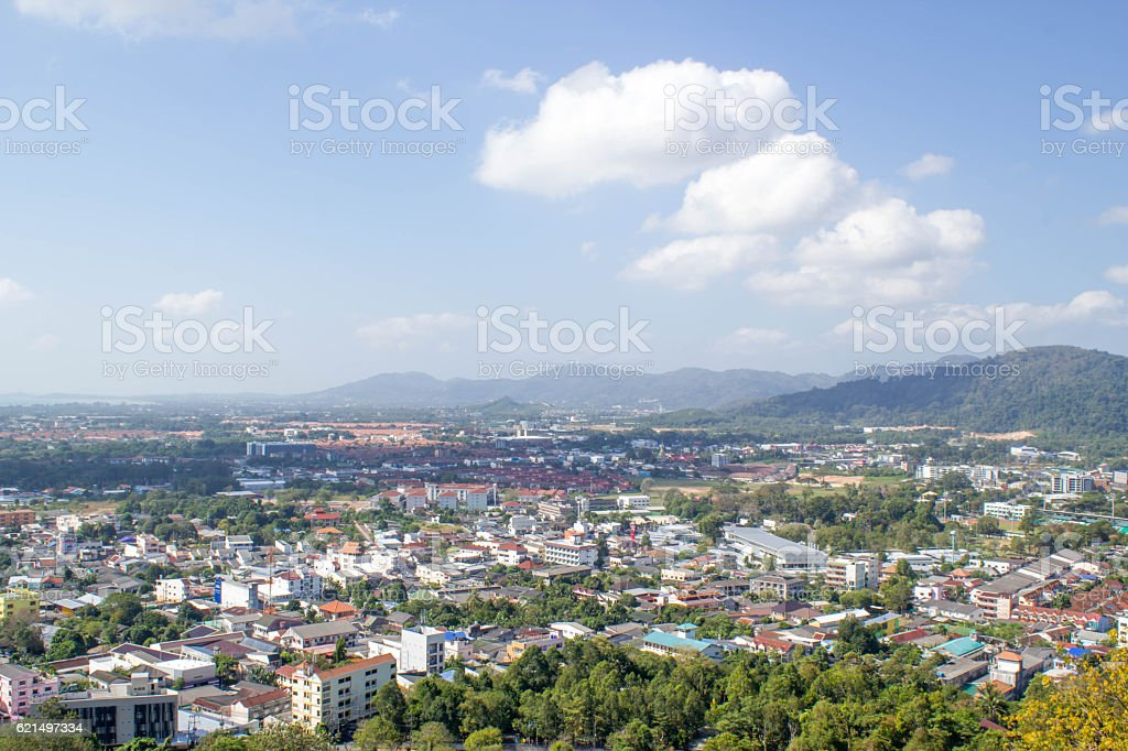 city view from the top hill of Phuket,Thailand Lizenzfreies stock-foto