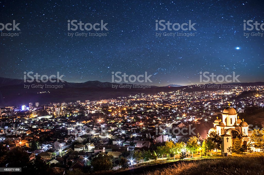 City view in night stock photo