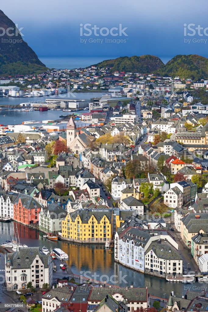 City View of Alesund in Norway stock photo