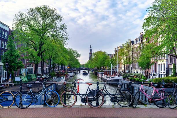 stadsbeeld van amsterdam en de westerkerk met fietsen - westerkerk stockfoto's en -beelden
