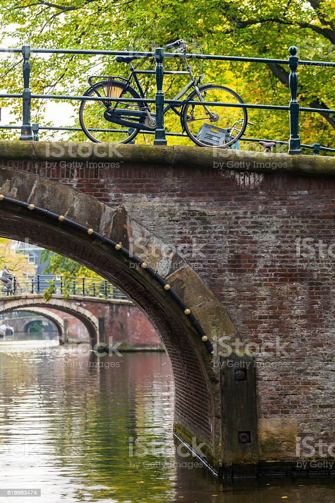 City view of Amsterdam with bridges and bicycles stock photo