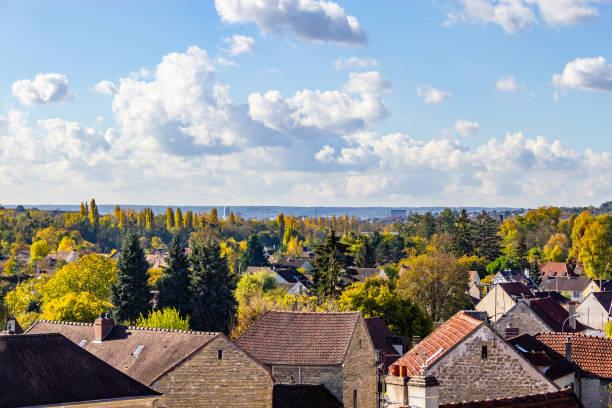 City view of  Auvers-sur-Oise village City view of  Auvers-sur-Oise village, France val d'oise stock pictures, royalty-free photos & images