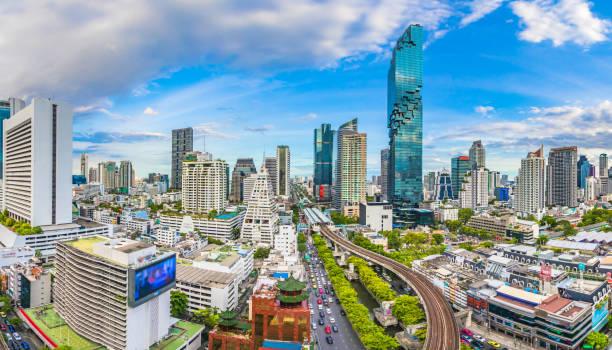 Blick auf die Stadt Bangkok und die U-Bahn-Station Thailand – Foto