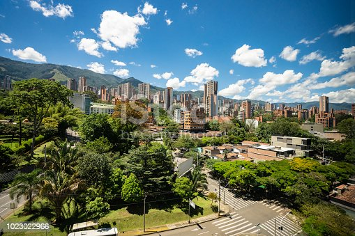 City view of beautiful Medellin Colombia