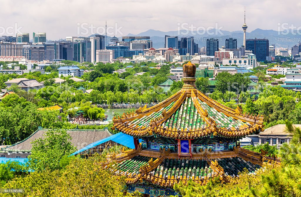 City view of Beijing from Jingshan park stock photo