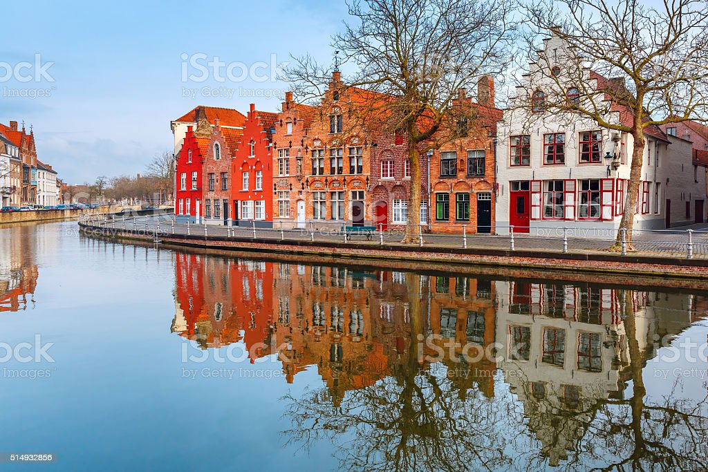 City view of Bruges canal with beautiful houses stock photo