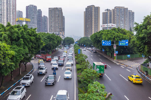City view of Chongqing high rise buildings, modern residential, shopping center and electric train. Chongqing, China. - foto stock