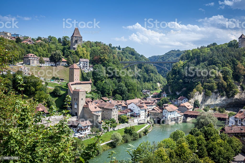 City view of Fribourg, Switzerland stock photo