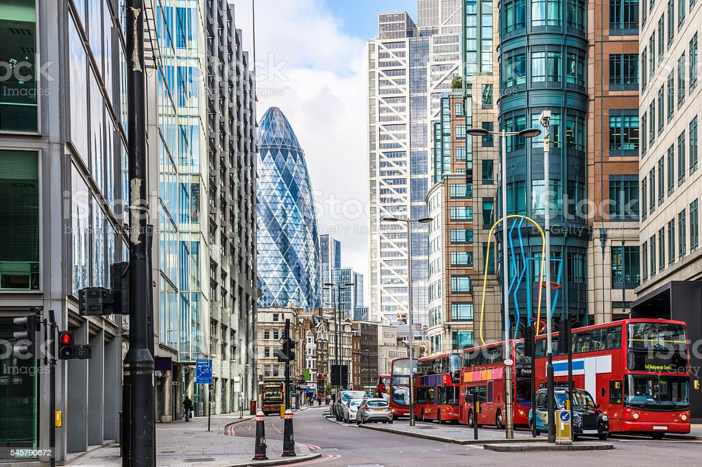 City View of London around Liverpool Street station stock photo