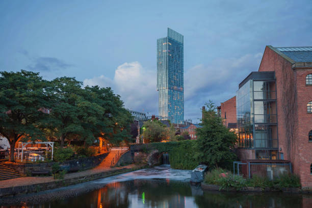 City view of Manchester from Castlefield. stock photo