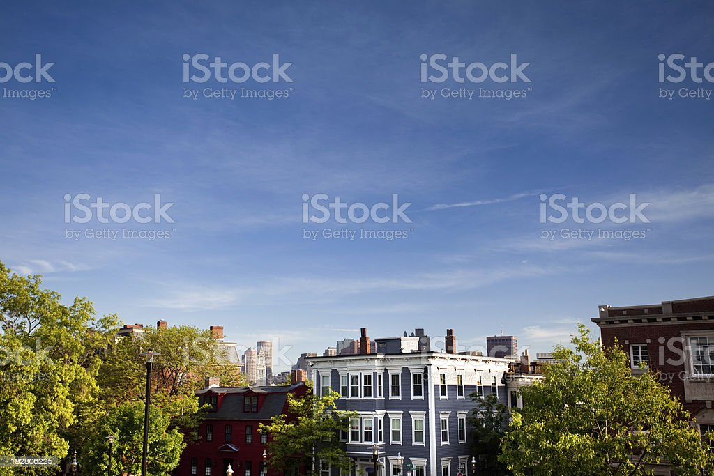City view of residential Boston stock photo