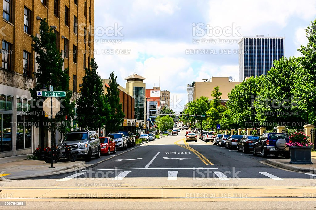 City view of West Markham Street in Little Rock, Arkansas stock photo
