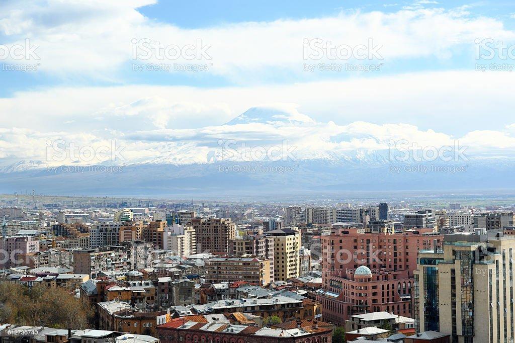 City view of Yerevan and Ararat mountain stock photo