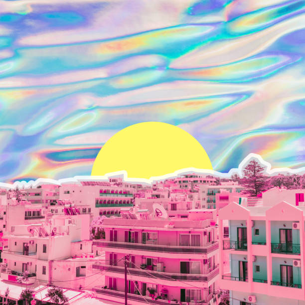 City view on psychedelic colorful sky background in holographic style. Tropical travel concept. Surreal art collage
