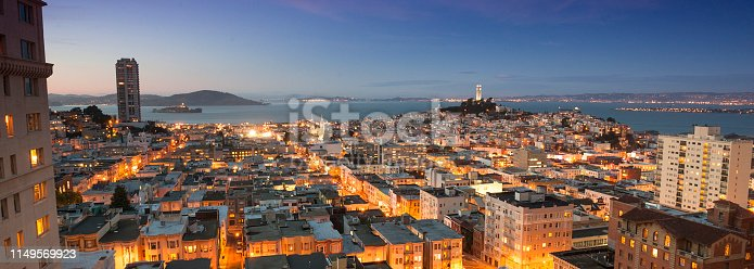 City view of San Francisco with the Coit Tower and the San Francisco Bay in the background