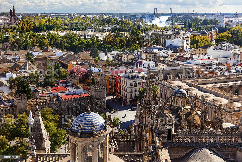 City View Plaza Alcazar from Giralda Tower Seville Cathedral Spain stock photo