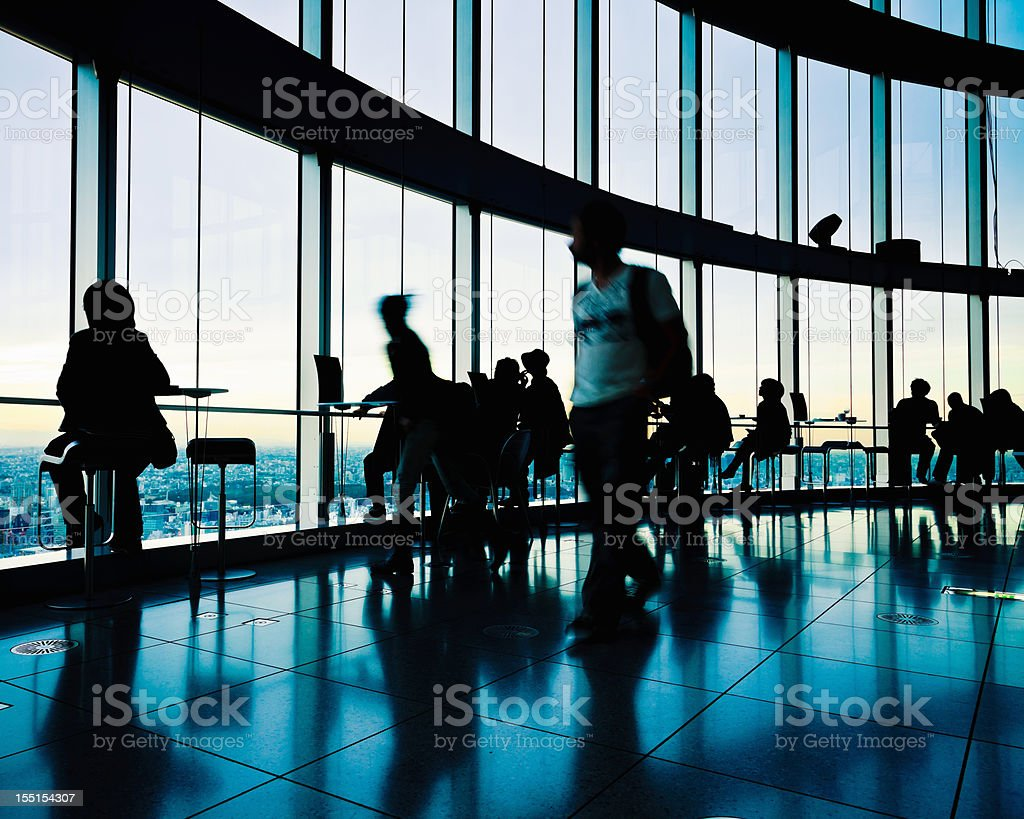 City View Tokyo Backlit People Silhouettes royalty-free stock photo