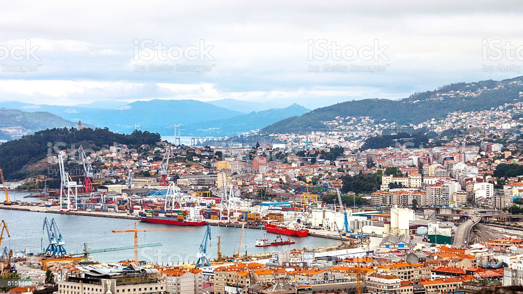 City view. Vigo, Spain. stock photo