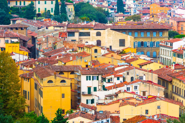 City view with old houses in Florence, Italy stock photo
