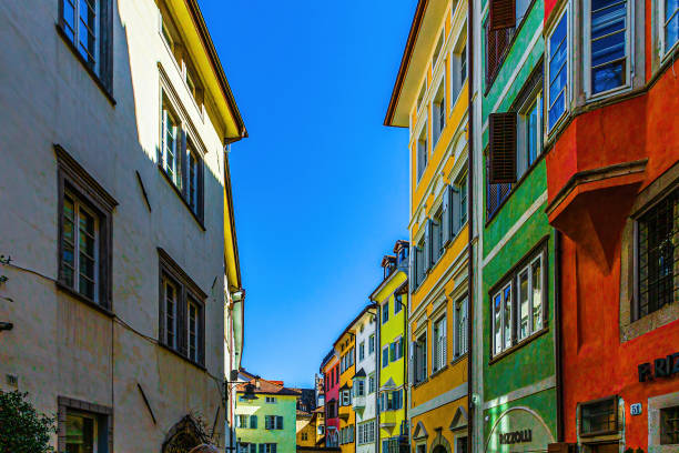 City views of the beautiful city of Bozen in South Tyrol, Italy stock photo