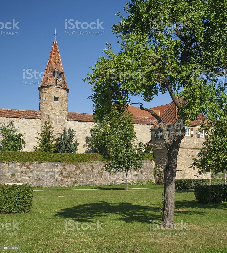 City wall of Rothenburg ob der Tauber royalty-free stock photo
