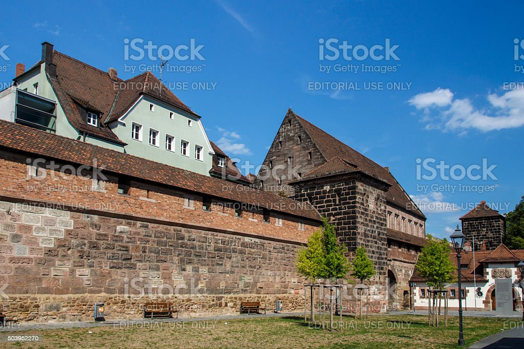 City walls along the Frauentorgraben in Nuremberg, Germany, 2015 stock photo