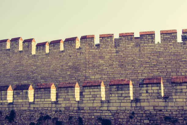 City walls of Constantinople in Istanbul, Turkey stock photo