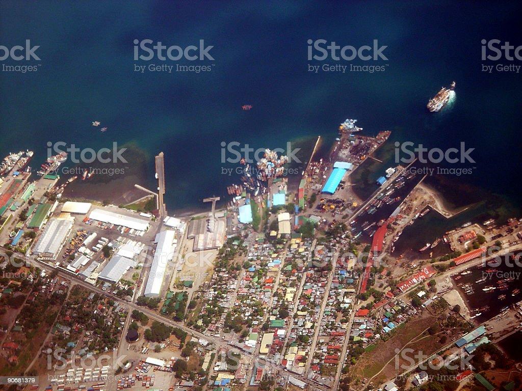 City Wharf Aerial Shot stock photo