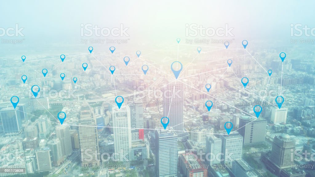 City with conncection line concept , technology conceptual, internet globalization for business stock photo