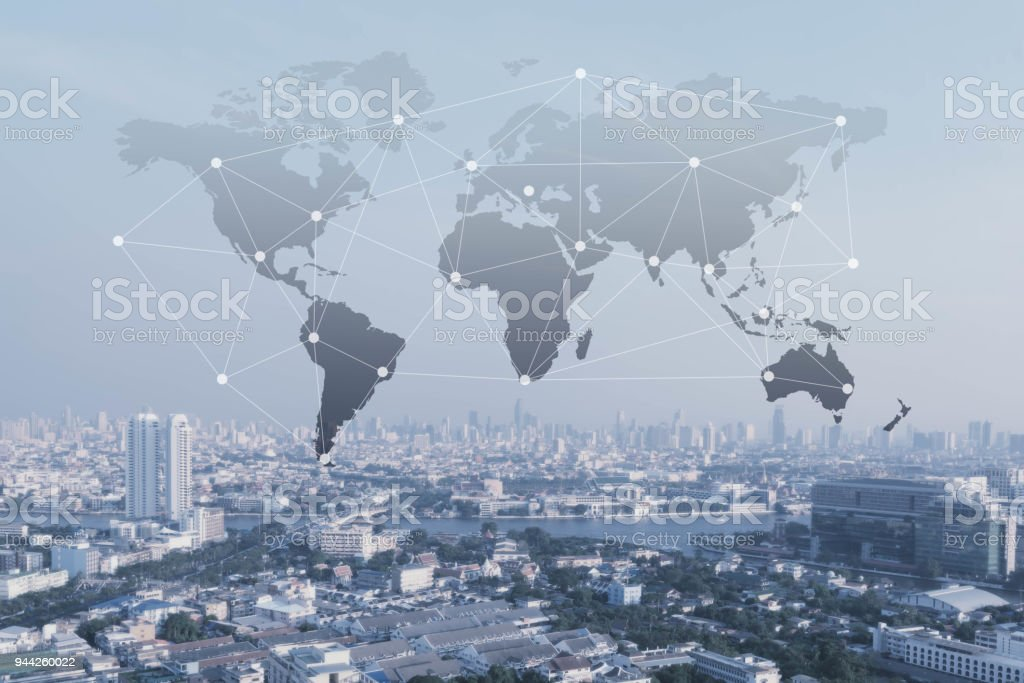 City with conncection line, technology conceptual, internet globalization concept stock photo