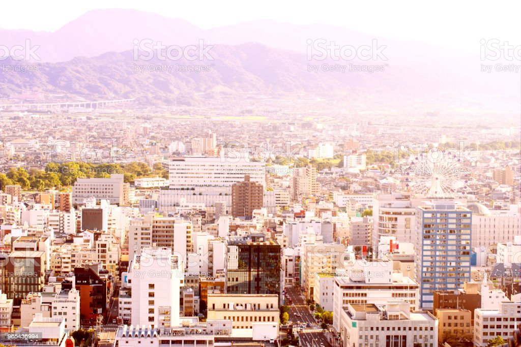 city with mountains and sky royalty-free stock photo