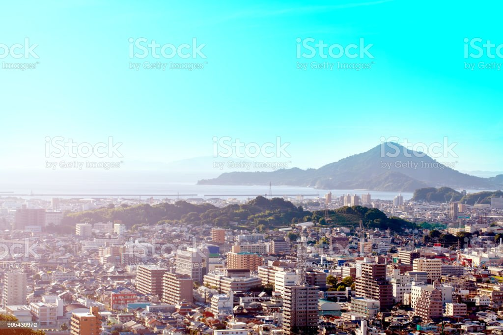 city with mountains with sea and blue sky royalty-free stock photo