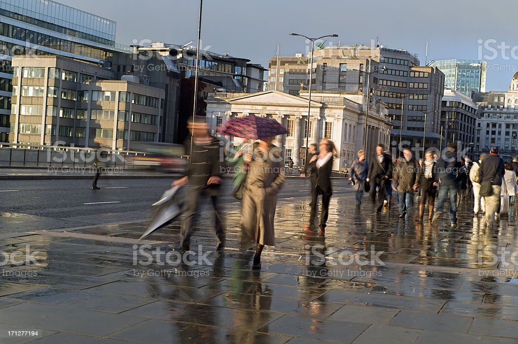 City workers commuters walking in London royalty-free stock photo
