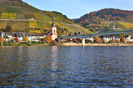City Zell alongside river Moselle