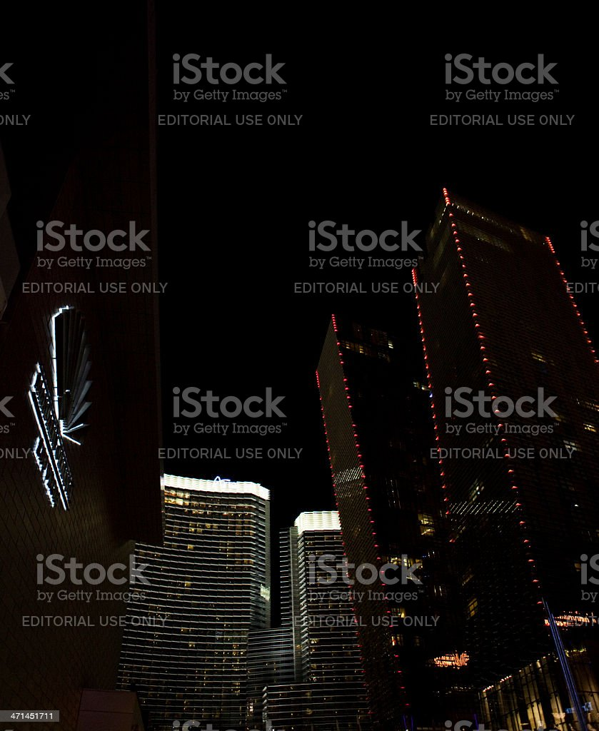 CityCenter Complex Nighttime stock photo