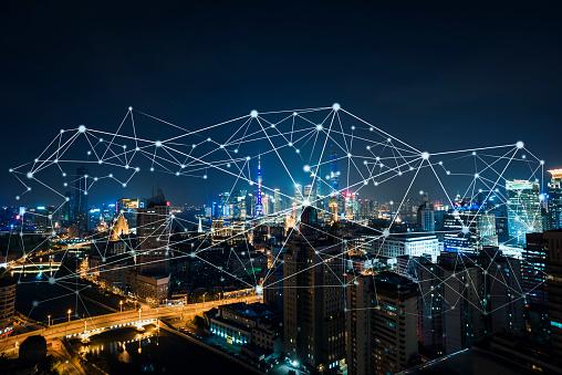 Stadt, Daten, Big Data, Stadtansicht, Stadtsilhouette, Shanghai, China
