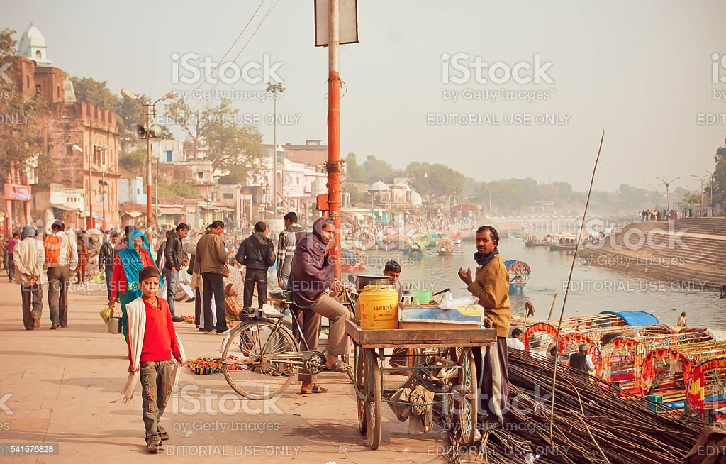 Citylife scene with cyclist and tea masala trader stock photo