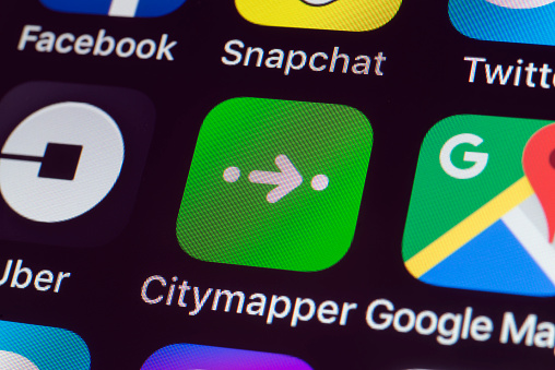 Citymapper, Uber, Google Maps and other Apps on iPhone screen
