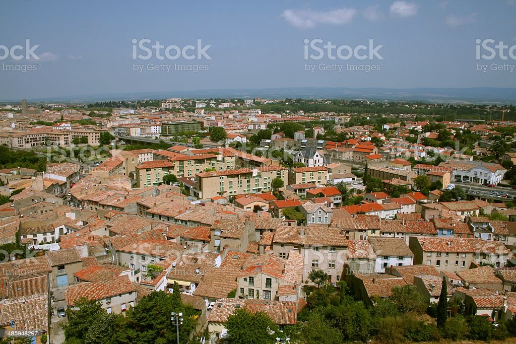 Cityscape Aerial view France Languedoc Carcassonne royalty-free stock photo