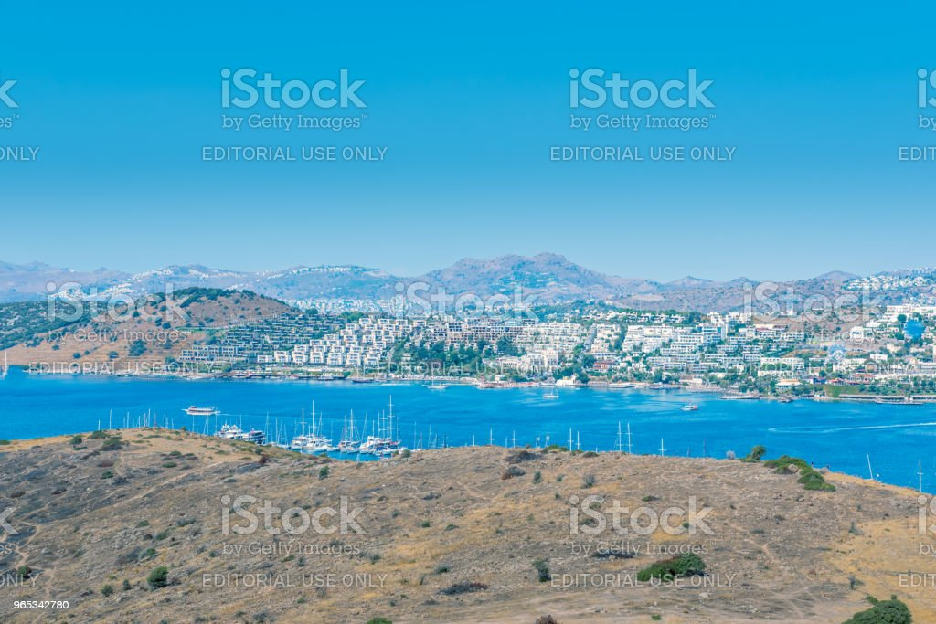 Cityscape Aerial view of Aegean architecture houses and Marine zbiór zdjęć royalty-free