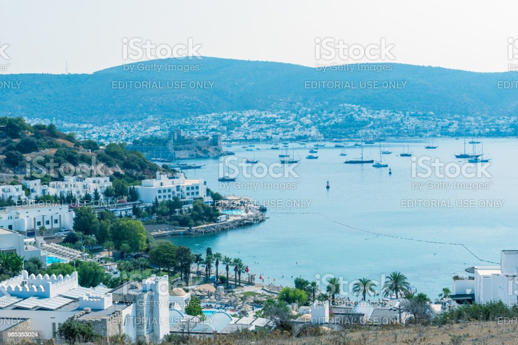 Cityscape Aerial view of Aegean architecture houses and Marine royalty-free stock photo