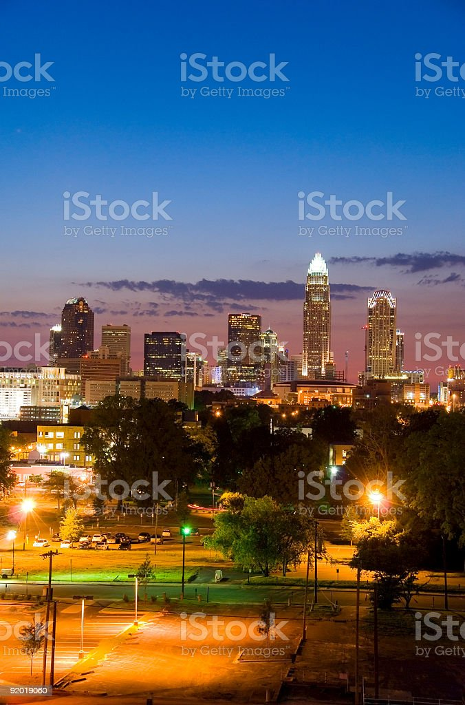 Cityscape after sunset stock photo