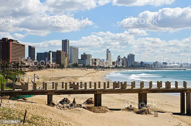 Cityscape And Beach Of Durban South Africa Stock Photo - Download Image Now