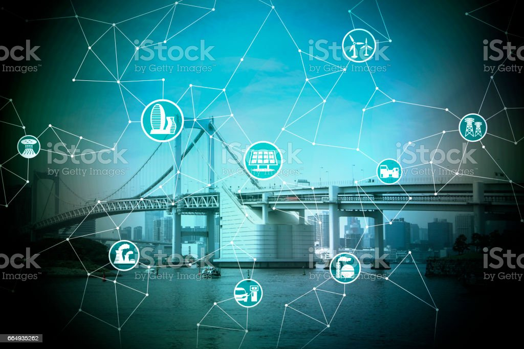 cityscape and bridge, smart energy, smart grid, smart city, smart building, abstract image visual stock photo