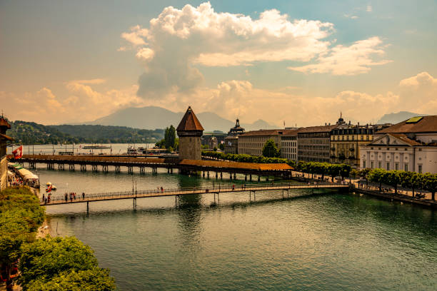 Cityscape and Chapel Bridge (Kapellbrucke) in Lucerne stock photo