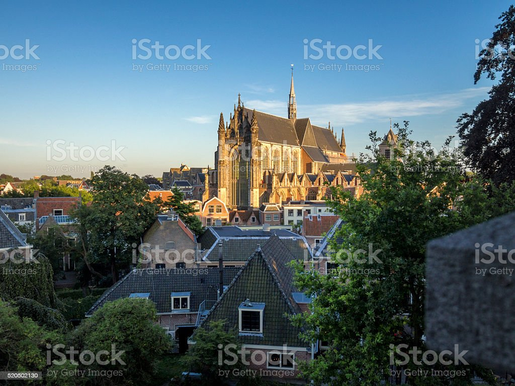 cityscape and church in Leiden, Netherlands stock photo